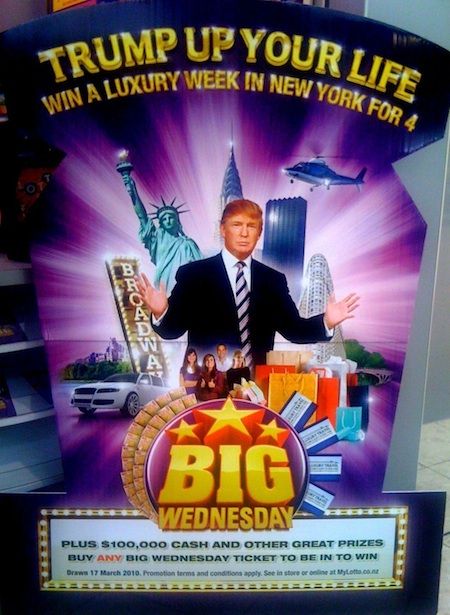 Donald Trump sells his name and face to sell lottery tickets - photo by Peter Aranyi