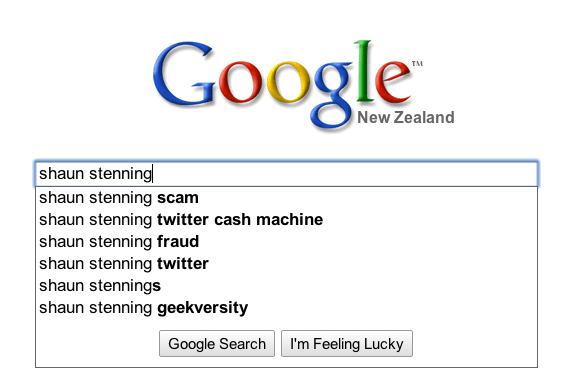 Shaun Stenning Google prompts April 2010