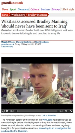 WikiLeaks accused Bradley Manning  should never have been sent to Iraq | World news | The Guardian