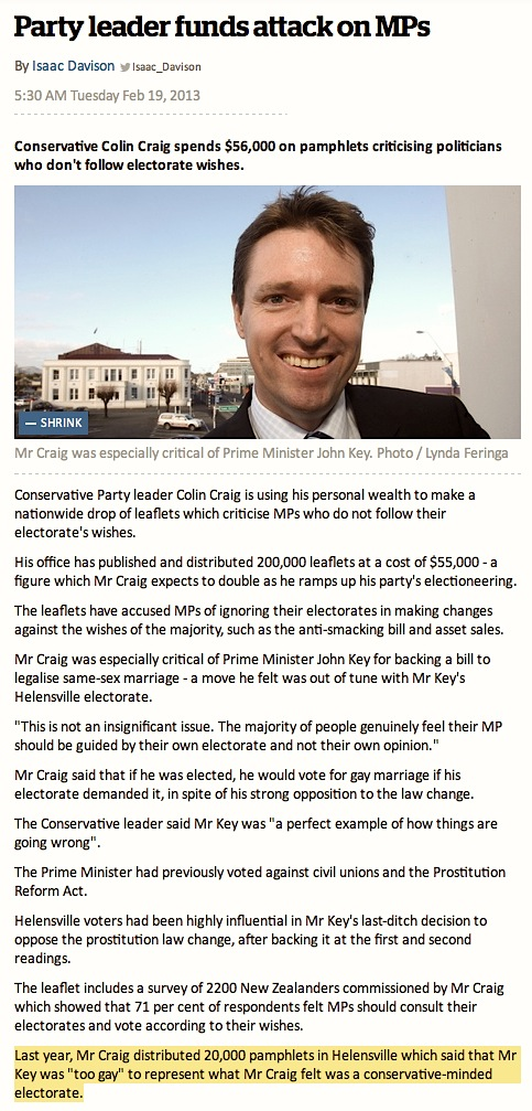 Colin Craig says Key too gay