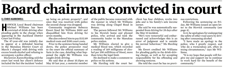 Howick Local Board chairman Michael Williams convicted of drink driving