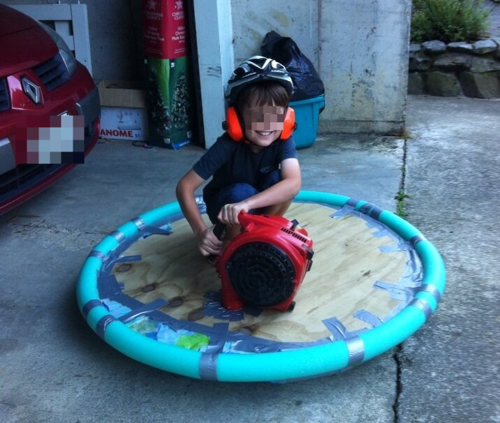 """Leaf blower + pool noodle + plywood + shower curtain + small boy = hovercraft"" — John Edwards"