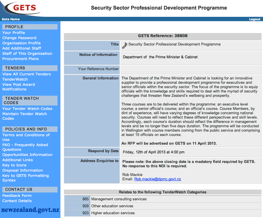 GETS - Security Sector Professional Development NOI - click to enlarge