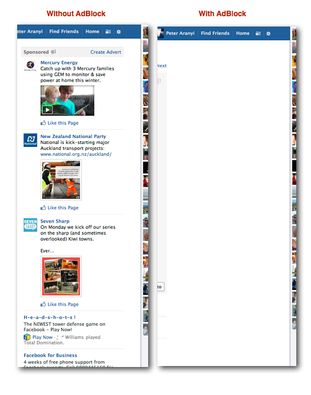 2x FaceBook with and without AdBlock