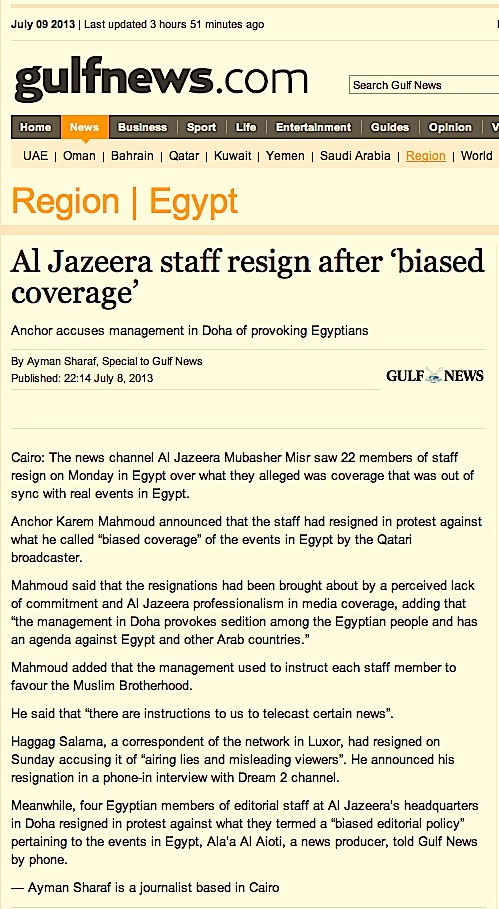 Al Jazeera staff resign after 'biased coverage' | GulfNews.com