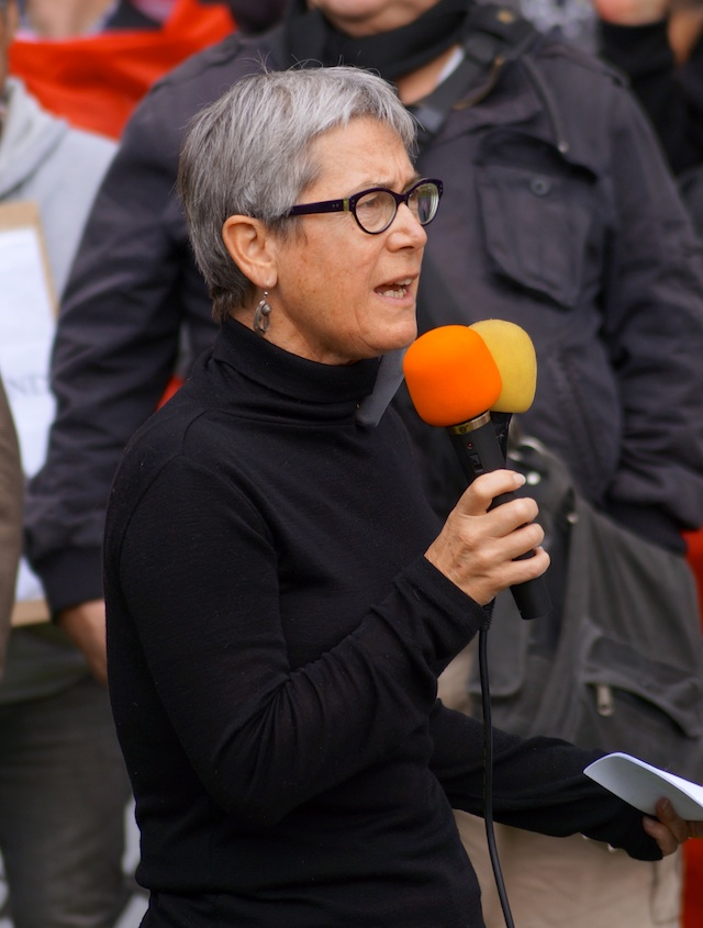 Living treasure Professor Jane Kelsey addresses the Auckland Stop the GCSB Bill rally. Pic Peter Aranyi