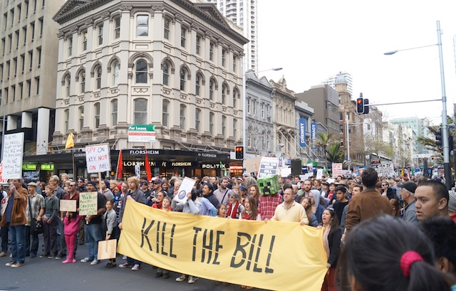 click to see other photos of the anti GCSB Bill march in Auckland 27 July 2013