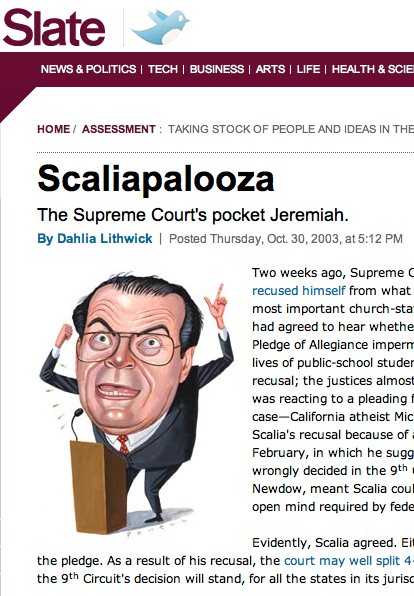 2003 Slate magazine cartoon of the real Scalia