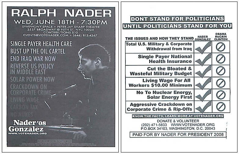 Ralph Nader handbill (click to enlarge)