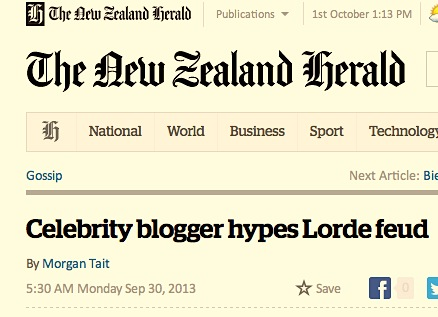 The NZ Herald 'Gossip' column reports celebrity gossip blogger Perez Hilton 'hyping' a 'feud'. Jeez, Morgan. Really?