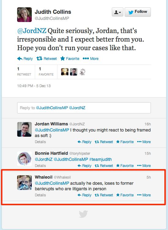 update- Twitter _ JudithCollinsMP_ @JordNZ Quite seriously, Jordan, ...