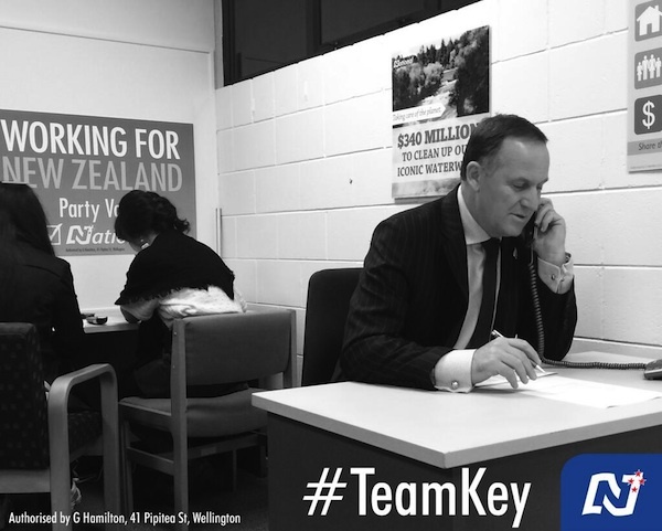 John Key on phone National ad-600w