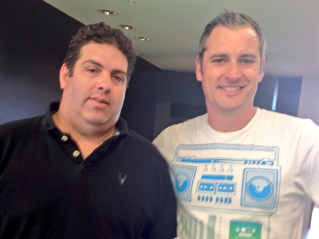 Media barons in their own lunchbox, Cameron Slater and Regan Cunliffe (pic: Rachel Glancing)