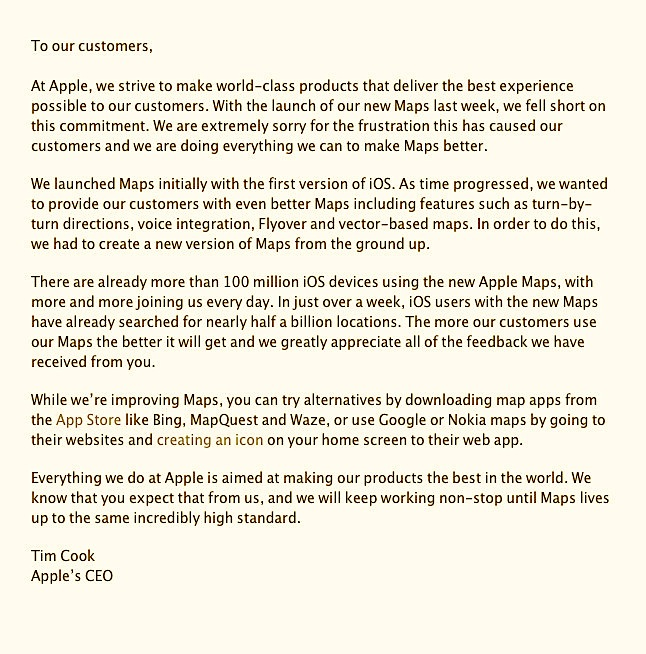 A second apology this time from Apple